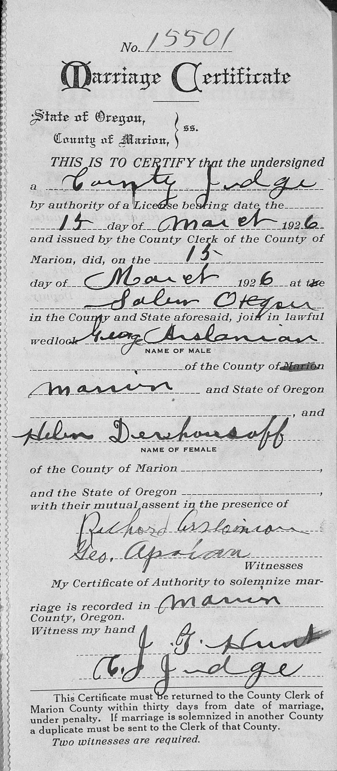 Illinois marion county salem - Marriage Record Of Kevork George Arslanian 212 To Helen Derhousoff 15 March 1926 Salem Marion County Oregon