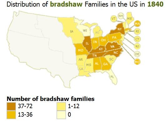 The Bradshaw DNA Project - Common surname map us